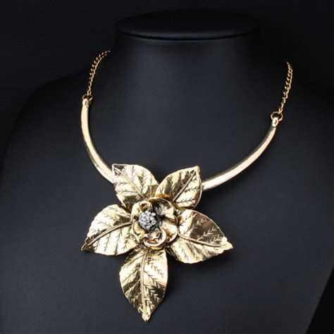 Kalung Fashion Murah Choker Pendant fashion vintage jewelry antique gold silver big flower pendant necklace statement choker