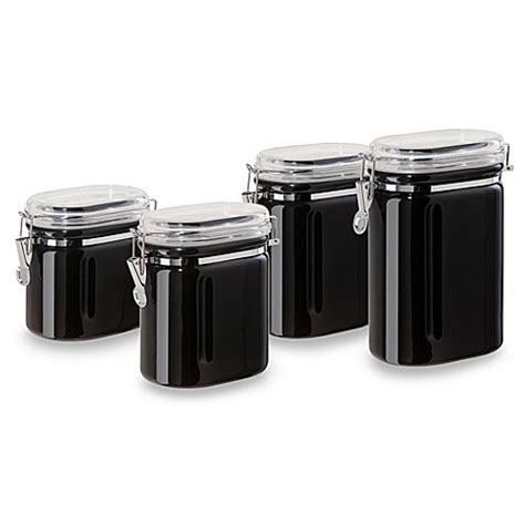 black ceramic kitchen canisters oggi 4 piece ceramic oval airtight canister set in black