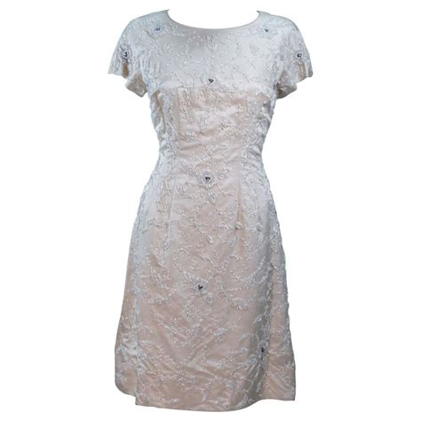 1960 s ivory beaded cocktail dress size 8 10 for sale at