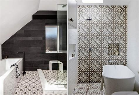 Black White Grey Bathroom Ideas by Patterned Tiles Interior Design Trend Design Lovers Blog