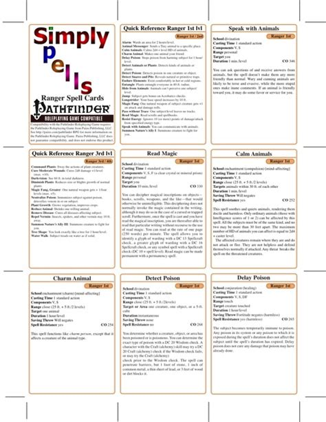 Pathfinder Spell Card Template by Paizo Simply Spells Ranger Spell Cards Pfrpg Pdf