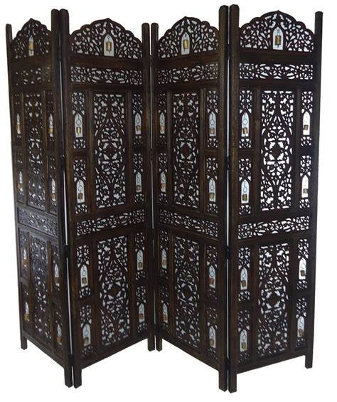 valentine one wooden room dividers 4 panel carved heavy duty indian wooden bells design