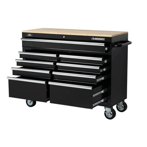 husky 46 inch 9 drawer mobile workbench with solid wood top husky 46 quot 9 drawer mobile workbench w solid wood top