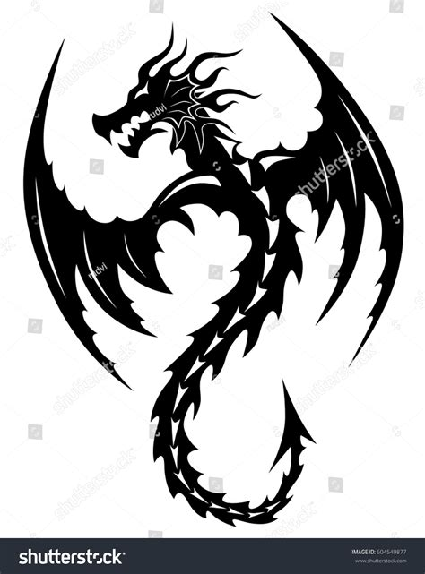 dragon tattoo vector illustration for tribal tribal tattoos stock vector