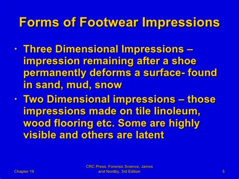 footwear impression evidence detection recovery and examination second edition practical aspects of criminal and forensic investigations books 19 forensic science powerpoint chapter 19 forensic