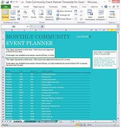 Event Planning Excel Template by Free Community Event Planner Template For Excel