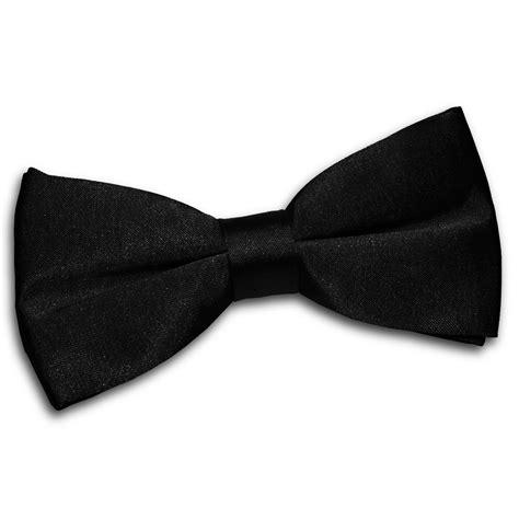 s plain black satin bow tie