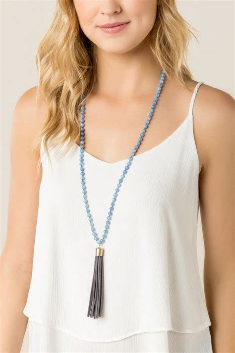 White Tassel Top Cl 1375 darya beaded tassel necklace in white s