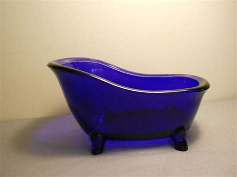 Soap Dish Shaped Like Bathtub by Cobalt Blue Glass Heavy Footed Bathtub Shaped Soap