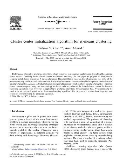 pattern recognition algorithms for cluster identification problem cluster center initialization algorithm pdf download