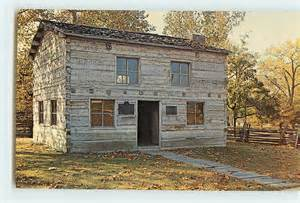 vintage postcard lincoln log cabin courthouse decatur