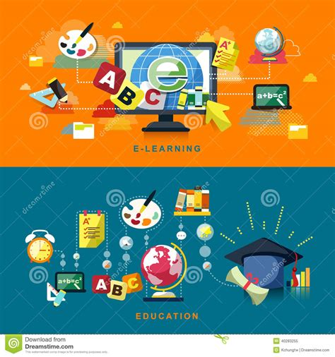 design online learning flat design for education and online learning stock vector