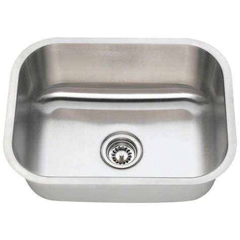 stainless steel single bowl kitchen sinks polaris sinks undermount stainless steel 23 in single bowl kitchen sink p8132 16 the home depot