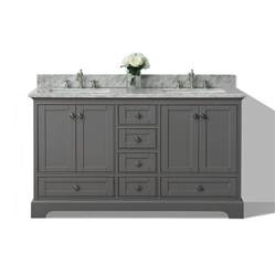 Bathroom Vanity 60 X 19 Shop Ancerre Designs Sapphire Gray 60 In Undermount