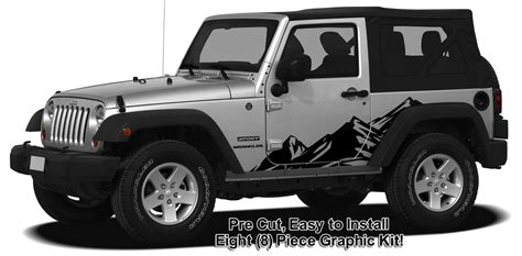 Jeep Graphics Decals Jeep Wrangler Mountain Range Side Graphics Kit 2007 2015