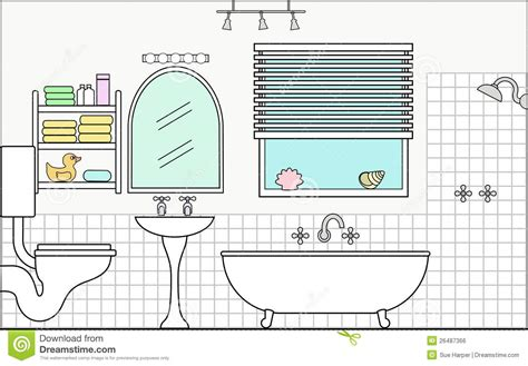 section of a toilet bathroom with fixtures and fittings stock vector