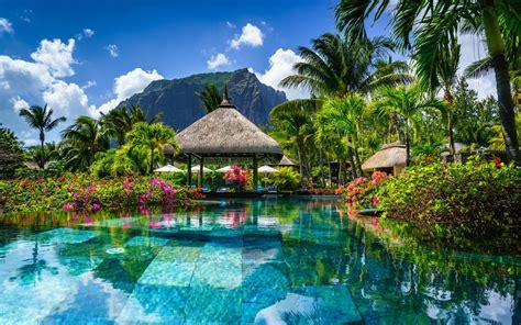 wallpapers mauritius tropical island mountain