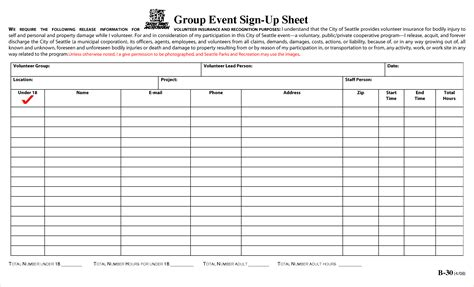 4 event sign up sheet template procedure template sle