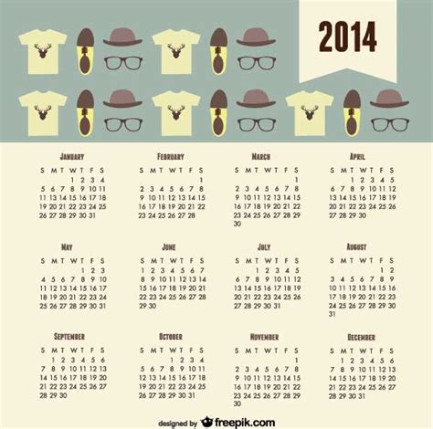 10 free vector 2014 calendar templates creative beacon