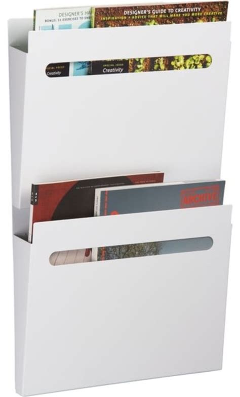 White Wall Magazine Rack by White File File Modern Magazine Racks By Cb2