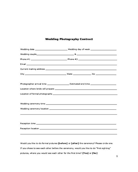 wedding contract template 2018 wedding contract template fillable printable pdf