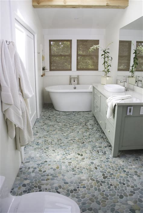 stone floor bathroom island stone perfect pebble floor modern bathroom