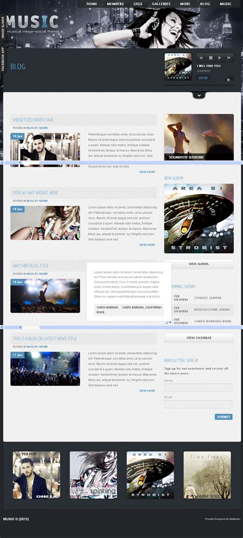 themes for facebook app music musicians theme facebook app by themeforest
