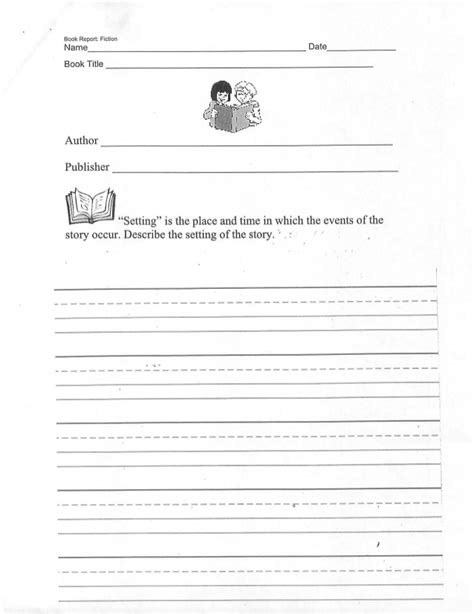 what does setting in a book report book report template