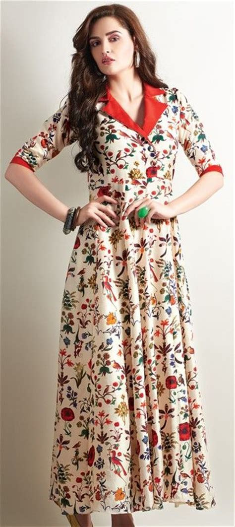 new pattern long kurti beige brown crepe printed long kurtis beige floral