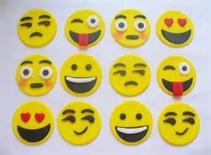 12 emoji edible fondant cupcake toppers