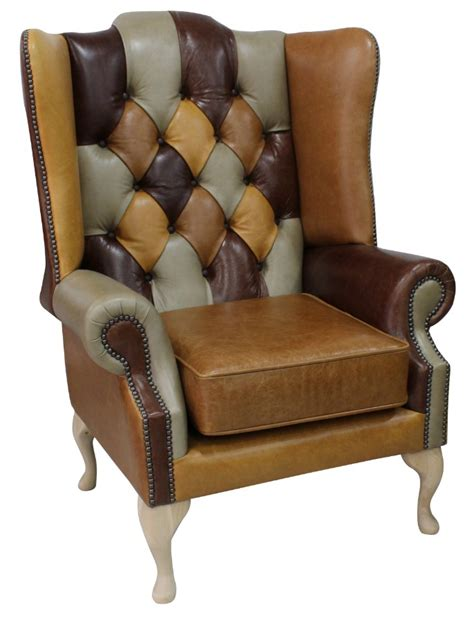 Patchwork Wing Chair - chesterfield prince s patchwork leather wing chair