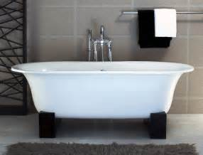 asia freestanding bathtub w black resin cradles