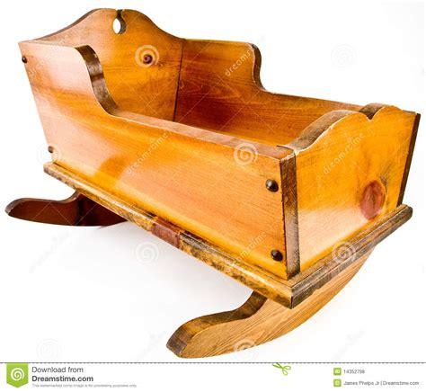 solid wood rocking cradle crib royalty  stock
