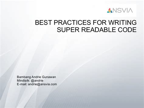 best practices for writing readable code
