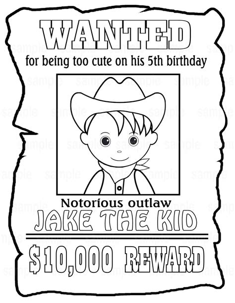 birthday coloring pages pdf personalized printable wanted cowboy poster birthday party