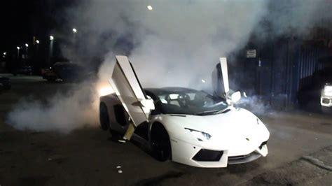 Lamborghini Burnout Lamborghini Aventador Tyre Burnout Near An Superbike