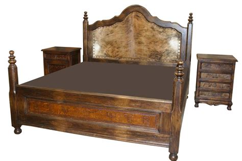 leather and cowhide bed western bedroom furniture