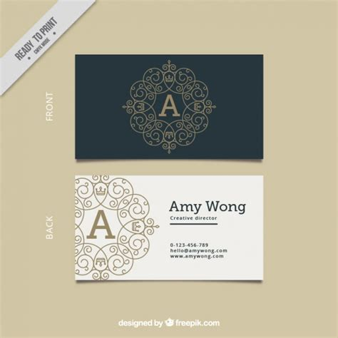 black and white elegant business card vector free download