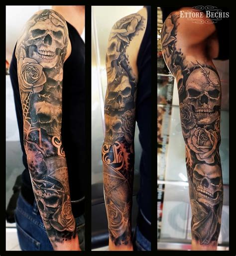black rose tattoo miami beach skull sleeve bat black and gray realism
