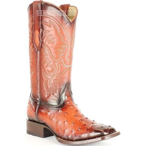 Handmade Ostrich Boots - cognac king quill ostrich square toe boots