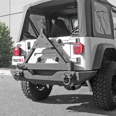 rugged ridge  tire carrier xhd rear bumper   jeep cj  wrangler