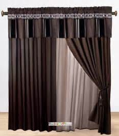 Taupe Striped Curtains 4p Chenille Striped Embroidery Curtain Set Coffee Brown Taupe Gray Valance Drape Ebay