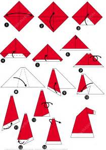 How To Make Paper Craft Step By Step - how to make an origami santa cap step by step