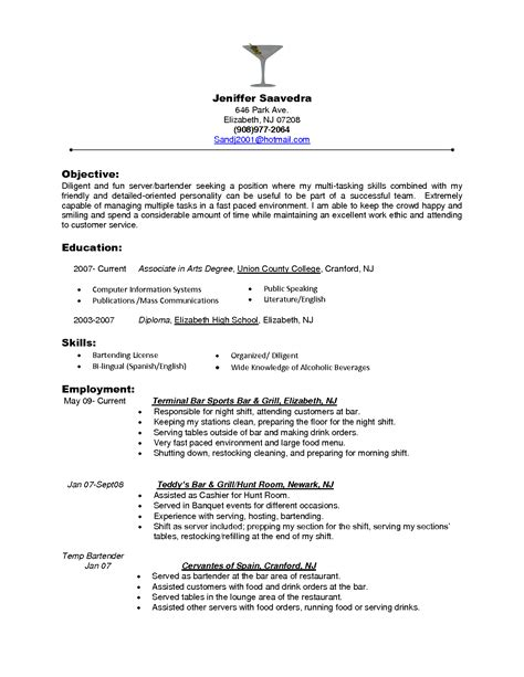 server resume template free top waiter and waitress resume sles sle resumes