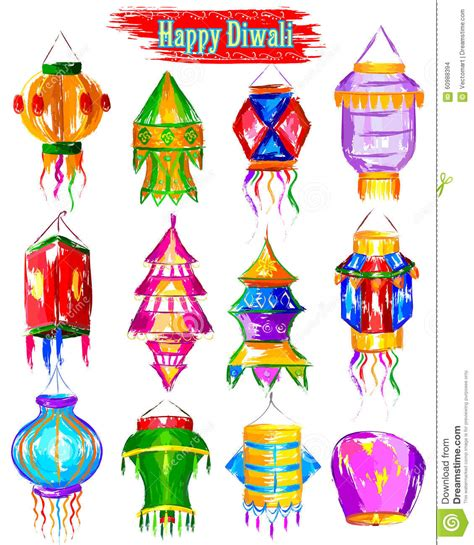 Handmade Diwali Kandil - watercolor diwali kandil for decoration stock vector