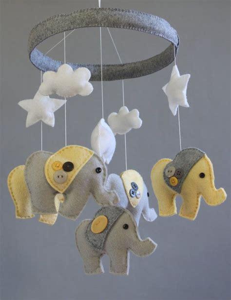 Grey Crib Mobile by Baby Nursery Decor Elephants Neutral Baby Nursery Mobile