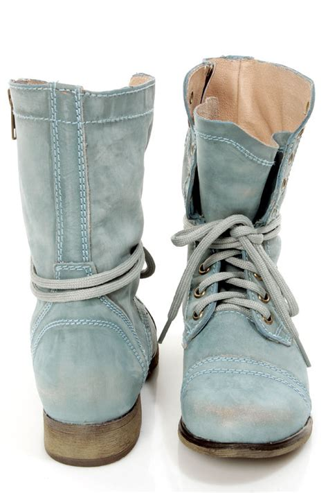steve madden troopa mens boots steve madden troopa blue leather lace up combat boots 99 00