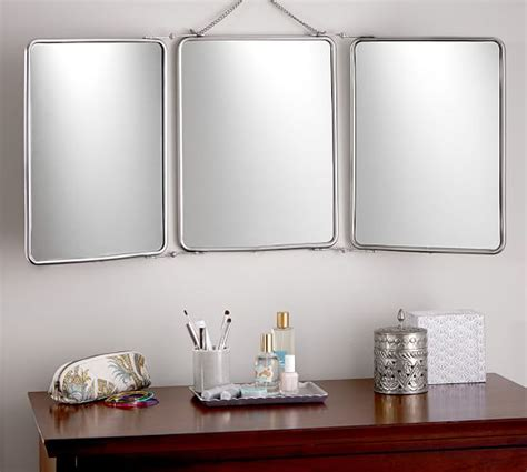 tri fold bathroom mirrors tri fold mirror pottery barn