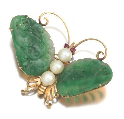 Paper Weight Butterfly 03 Small Dec66 Gold jade and pearl butterfly brooch 10 30 15 sold 365 8