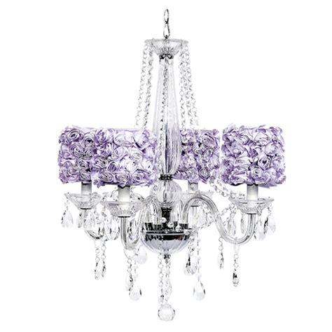 Lavender Chandelier Four Arm Middleton Glass Chandelier With Lavender Garden Shades